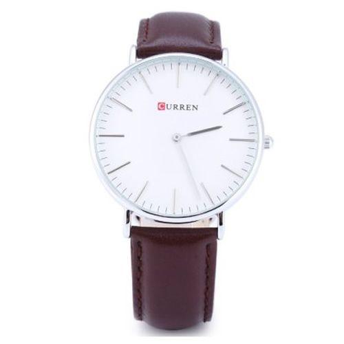 Relógio Masculino Curren Analógico 8209G Marrom e Branco