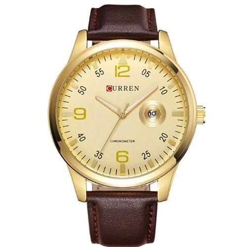 Relógio Masculino Curren Analógico 8116 Marrom e Dourado