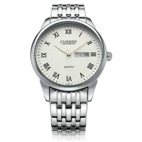 Relógio Masculino Curren Analógico 8086 Prata e Branco