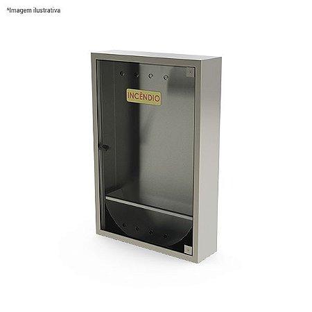 Caixa de hidrante simples de sobrepor, com suporte para mangueira - aço inox