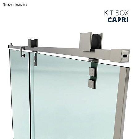 Kit box Capri (perfil quadrado com roldanas aparentes - fixação na alvenaria) - aço inox
