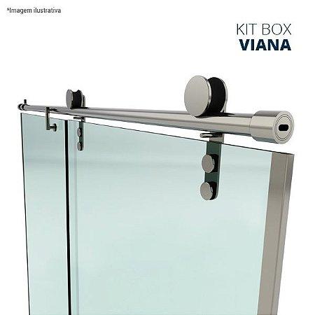 Kit box Viana (perfil redondo com roldanas aparentes - fixação na alvenaria) - aço inox