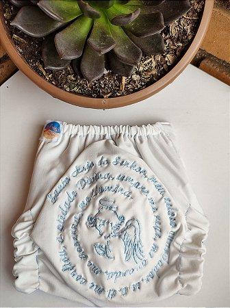 Fralda Oração Santo Anjo Azul - Nacional - Coleção Totus Tuus - Bordada - Elástico Caseado - Dryfit