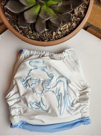 Fralda Santo Anjo Azul - Nacional - Coleção Totus Tuus - Bordada - Elástico Caseado - Dryfit