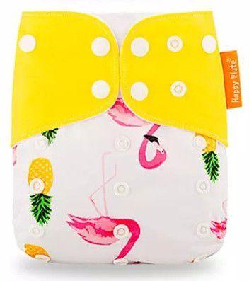 Chá da Júlia - Fralda Flamingo aba amarela - Importada - Happy Flute - Suede