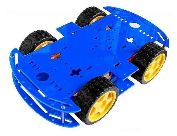KIT CHASSI COM 4 RODAS 4WD - AZUL