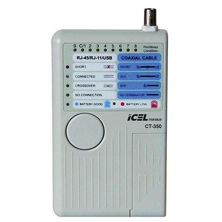 TESTADOR DE CABOS DE REDE, TELEFONE, USB E BNC ICEL MANAUS CT-350 - RJ11 RJ45 USB BNC
