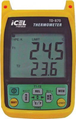 TERMÔMETRO DIGITAL DOIS CANAIS ICEL MANAUS TD-870 TIPO J: -210 ºc ~ 1.200 ºc TIPO K: -200 ºC ~ 1.372 ºC