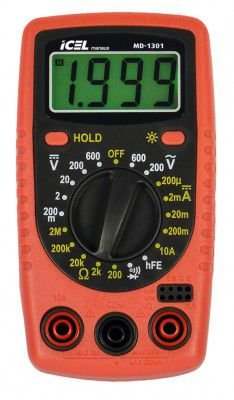 MULTÍMETRO DIGITAL ICEL MANAUS MD-1301 600VDC 10A 2mohms