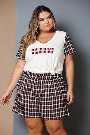 T-Shirt e Shorts Tweed Vermelho e Preto Maxi Plus
