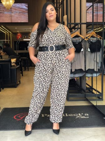 Macacão Plus Size Animal Print