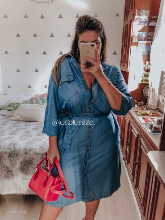 Chemise em Jeans com Elastano Plus Size