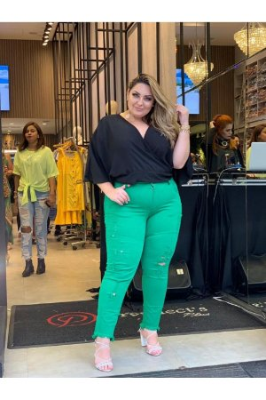Calça Jeans Plus Size Destroyed Verde