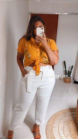Blusa Estampada Amarela Amarração