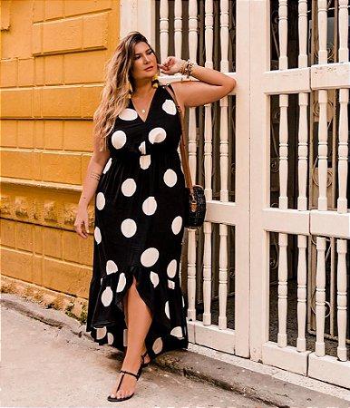 Vestido Plus Size Poá Marinho
