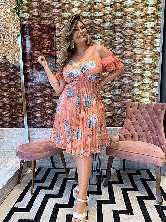 Vestido Plissado Beatrice Papaya