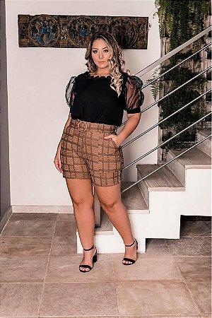 Shorts Plus Size Alyssa Marrom