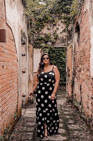 Vestido Plus Size Poá Black