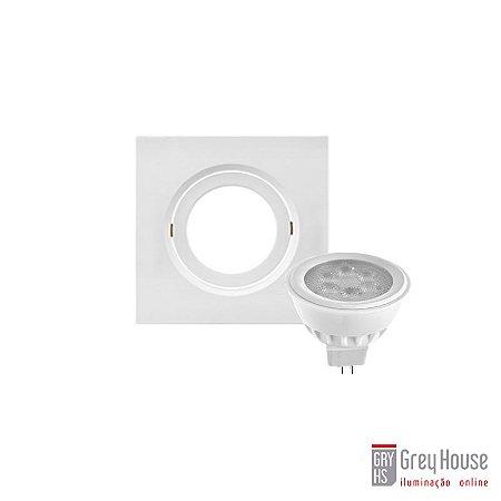 Kit Spot de Embutir Orientável 30x90x90mm + Lâmpada Dicróica GU10 | Grey House