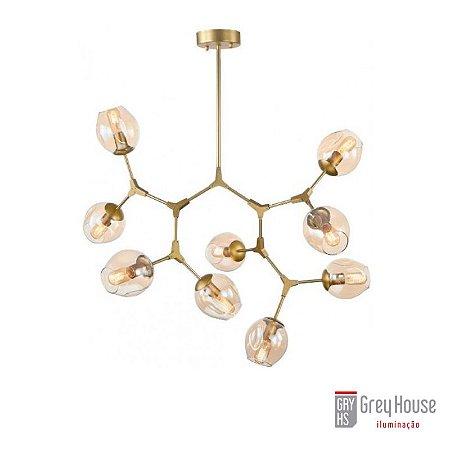 Pendente DNA Dourado com Champagne p/ 9 Lâmpadas | Grey House