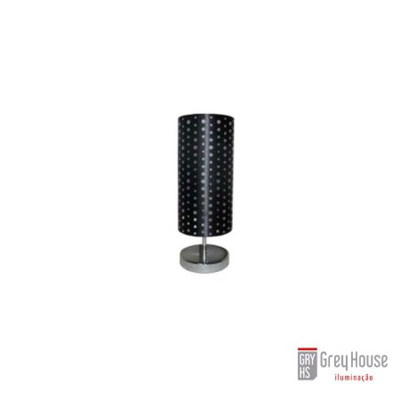 Abajur Silk Cromado e Preto | Grey House