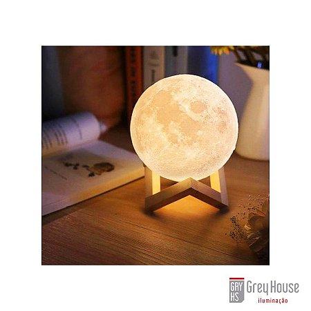 Luminária Moon c/ Suporte em Madeira | Grey House
