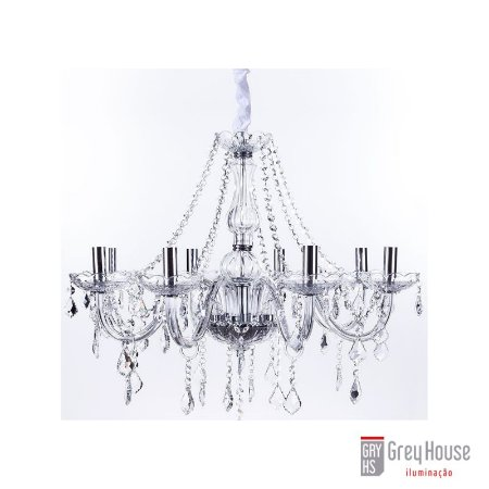 Lustre Maria Thereza Cristal Transparente 8 Braços | Grey House