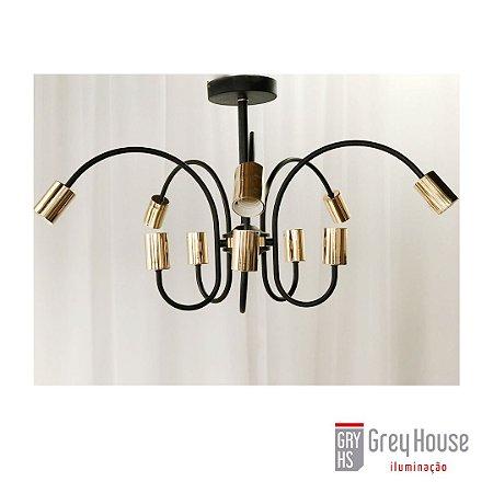 Plafon Preto com Dourado p/ 10x E27 | Grey House