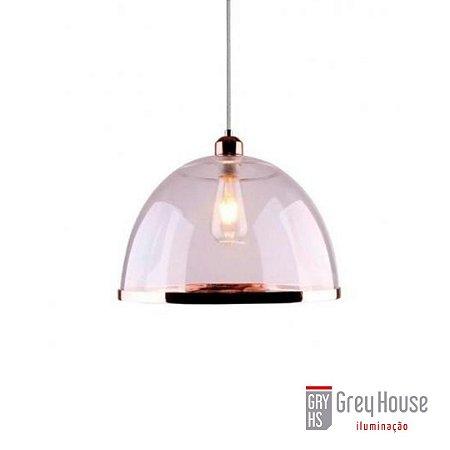 Pendente Acrílico e Metal 1x E27 Cobre Transparente e Cobre | Grey House