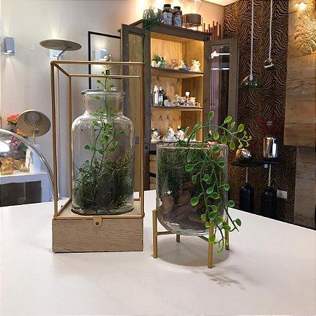 Conjunto decorativo com luminária e vaso em vidro | Grey House