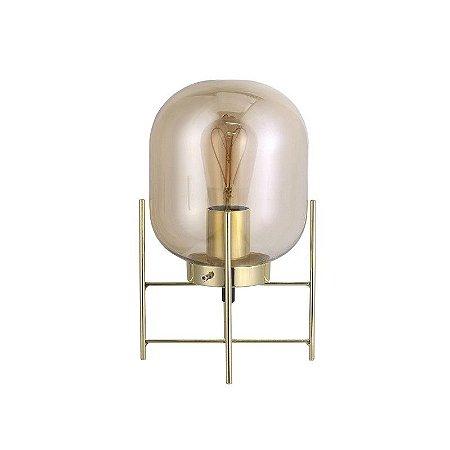 Luminária de Mesa Flint em Vidro Champagne e Metal Dourado 1 x E27 QAB1335CH | Quality