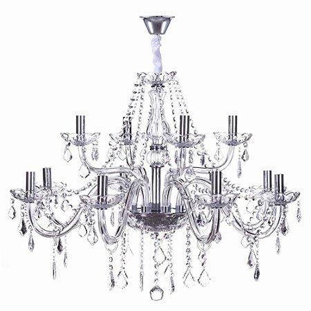 Lustre Maria Thereza Cristal Transparente 12 x E14 A55 X D77cm LC1411-12.000 | Arquitetizze