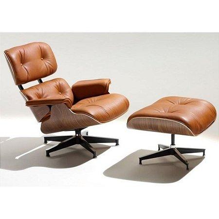 Poltrona Charles Eames Com Puff em Couríssimo Caramelo  | Design Chair