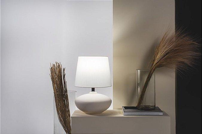 Abajur Cedro em Cerâmica Branco com Cúpula Off White 1 x E27 | Geo Luz e Cerâmica