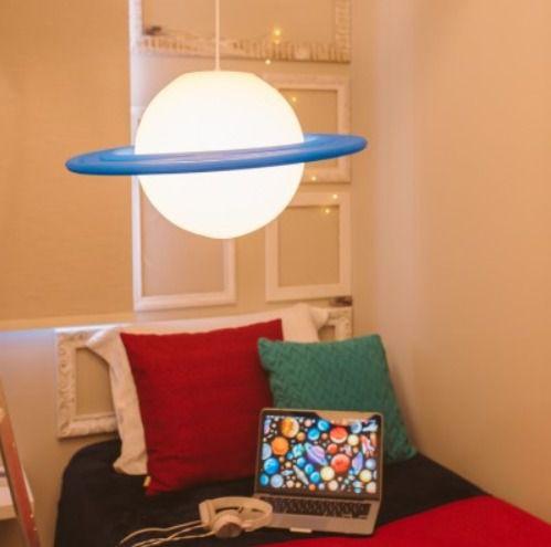 Pendente Saturno Branco e Azul   Usare
