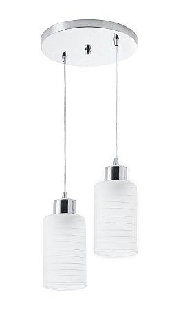 Pendente Track 2 Lâmpadas Aço/Vidro Leitoso Branco
