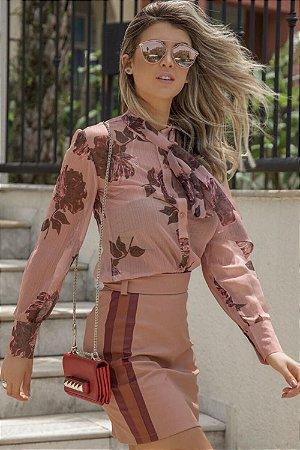Camisa Floral Laço