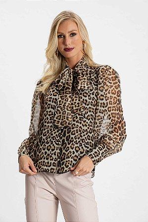 Camisa Laço Jaguar-Animal Print