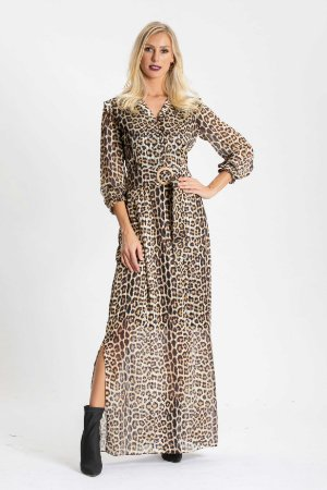 Vestido Longo Jaguar- Animal print