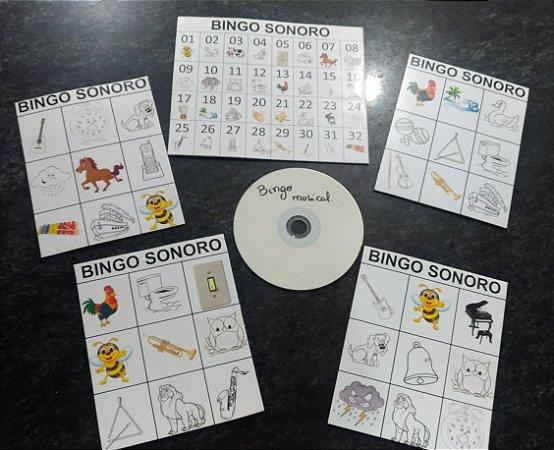 JOGO BINGO SONORO – IDENTIFICAR OS SONS – ACOMPANHA CD DE ÁUDIO