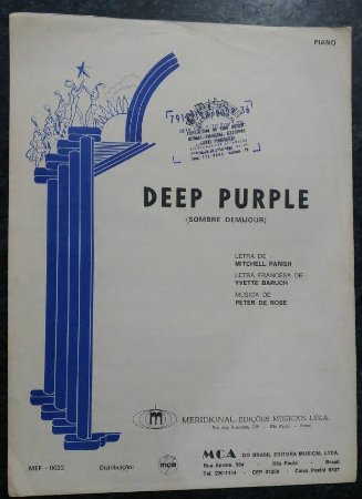 DEEP PURPLE - Partitura de Piano - Peter de Rose