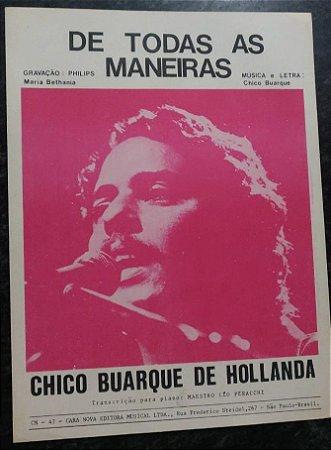 DE TODAS AS MANEIRAS (Partitura para piano solo) - Chico Buarque de Hollanda