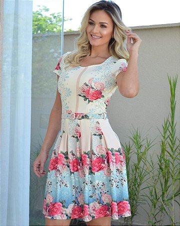 69f5350f7 Vestido Maria Amore em Crepe de Malha Estampado com Cinto - D Gennis ...