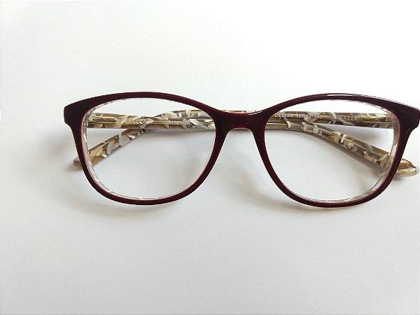 92240ae46638f Armação Para Óculos de Grau Arredondado Acetato Vinho Fundo estampado Gata  Mia