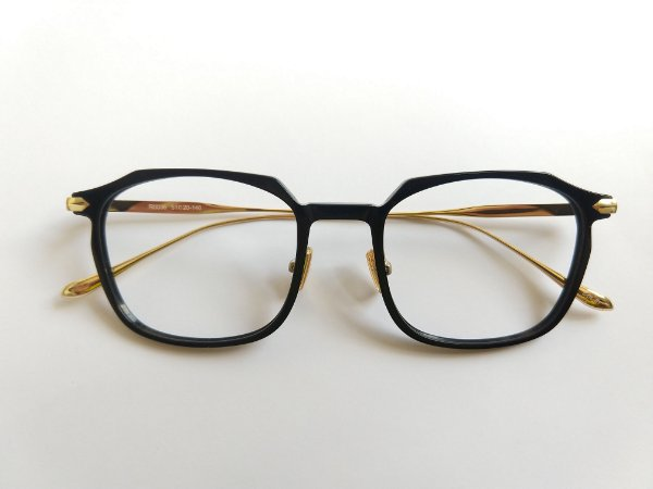 Óculos Para Grau Hexagonal Quadrado Acetato Preto Metal