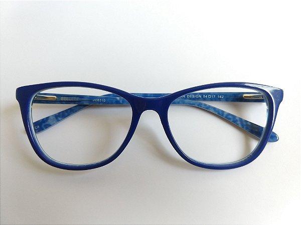 Óculos Para Grau Puxadinho Gatinho Acetato Azul Gata Mia
