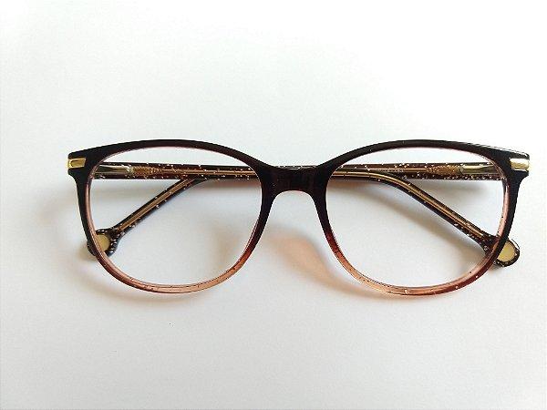 Óculos Para Grau Arredondado Acetato Marrom Com Glitter