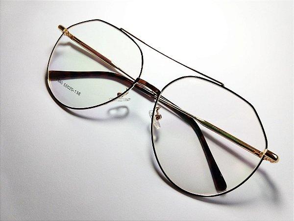 Óculos Para Grau Aviador Geométrico Metal Preto e Dourado