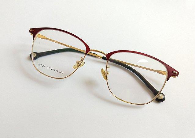 332fe1556 Óculos Para Grau Metal Vermelho com Dourado Gata Mia - Óculos Gata ...