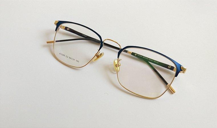 Óculos Para Grau Metal Azul com Dourado Gata Mia